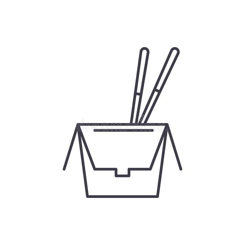 Kluski w boksują kreskowego ikony pojęcie Kluski w pudełkowatej wektorowej liniowej ilustracji, symbol, znak ilustracja wektor