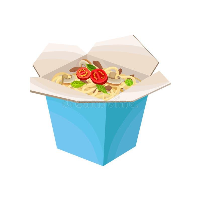 Kluski w kartonie z pieczarkami i pomidorami Takeaway jedzenie Płaski wektorowy projekt dla promo ulotki lub plakata ilustracja wektor
