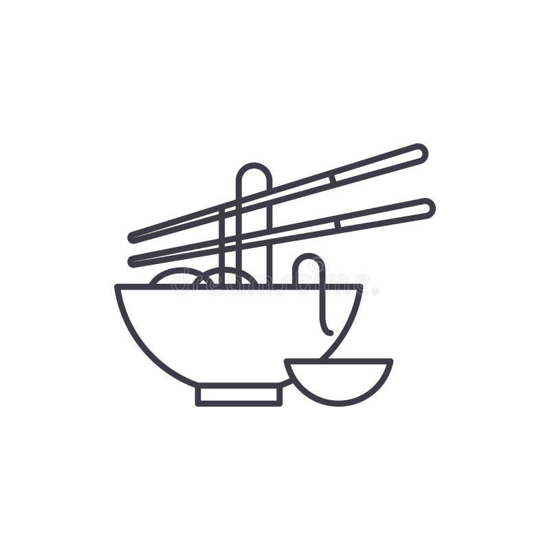 Kluski wykładają ikony pojęcie Kluski wektorowa liniowa ilustracja, symbol, znak royalty ilustracja