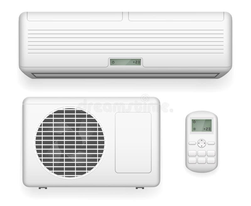 Kluven systemluftkonditioneringsapparat För kontrollvektor för kallt och kallt klimat illustration royaltyfri illustrationer