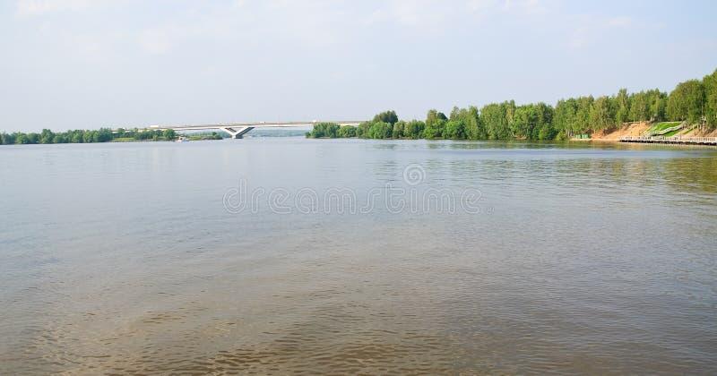 Klyazma reservoir, summer landscape in the suburbs. Klyazma reservoir, the River Klyazma, Moscow canal, summer landscape in the suburbs. In the distance the road stock photos