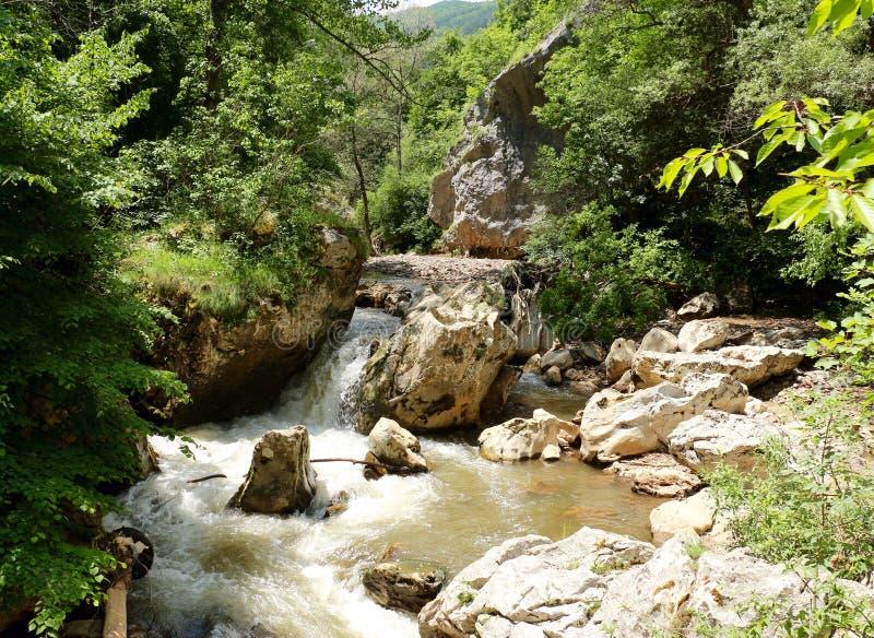 Klyftan av Erma River, Tran Gorge, Bulgarien arkivbilder