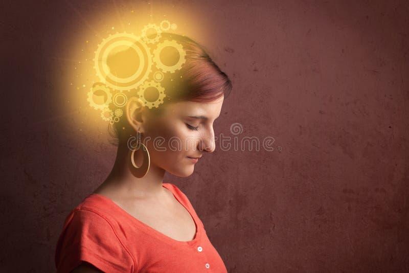 Klyftig flicka som tänker med en maskinhuvudillustration vektor illustrationer