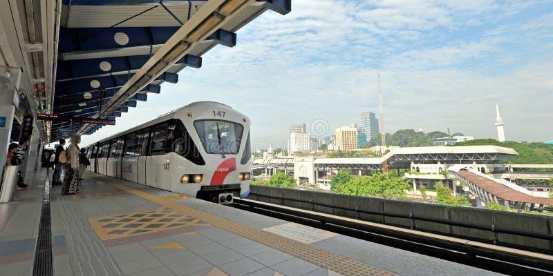 LIGHT RAIL TRANSIT  - KUALA LUMPUR. The 29km-long Kelana Jaya Line is the world`s  second longest fully-automated driverless metro system. It is also the longest royalty free stock photography
