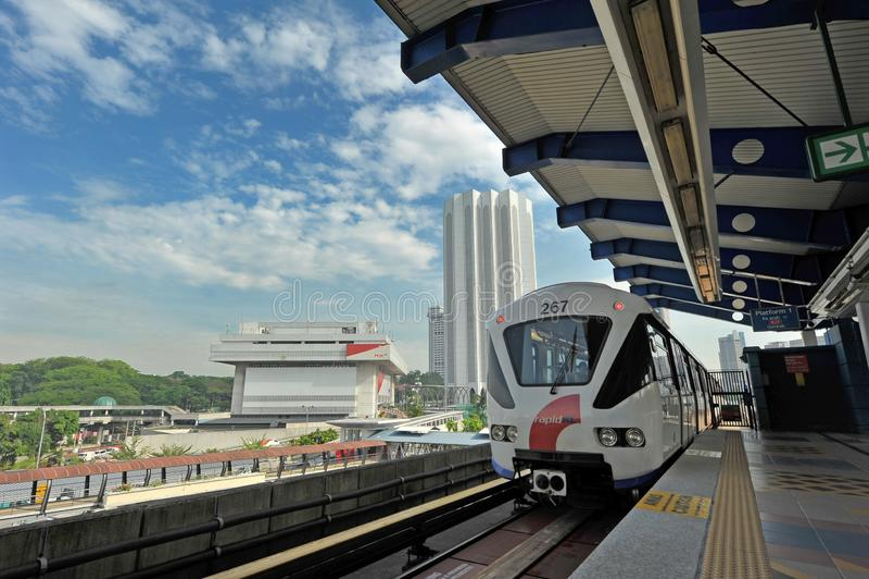 LIGHT RAIL TRANSIT - KUALA LUMPUR. The 29km-long Kelana Jaya Line is the world`s  second longest fully-automated driverless metro system. It is also the longest stock photography