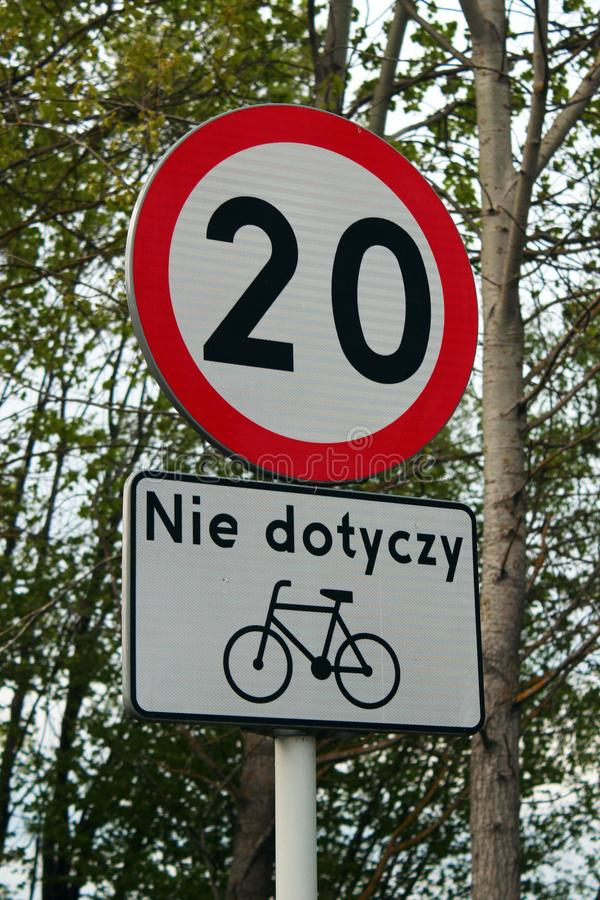 20km per hour speed limit road sign, not applied to bicycles. Located on Green Velo, the longest consistently marked cycle trail i royalty free stock photography