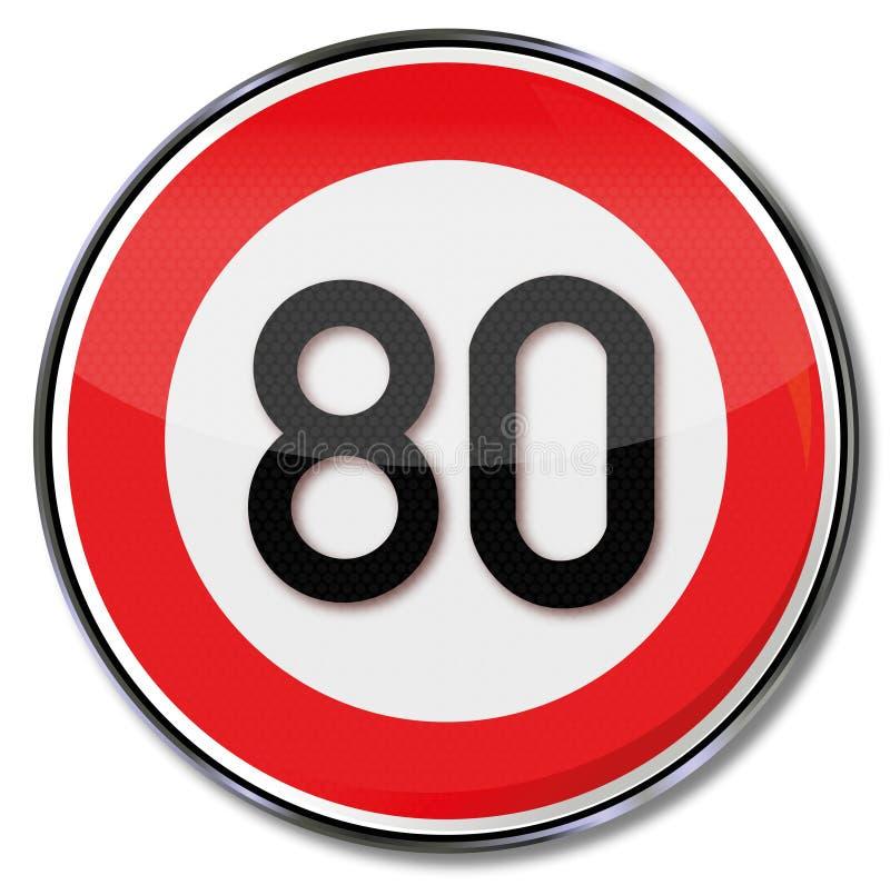 Kmh de la limitation de vitesse 80 illustration libre de droits