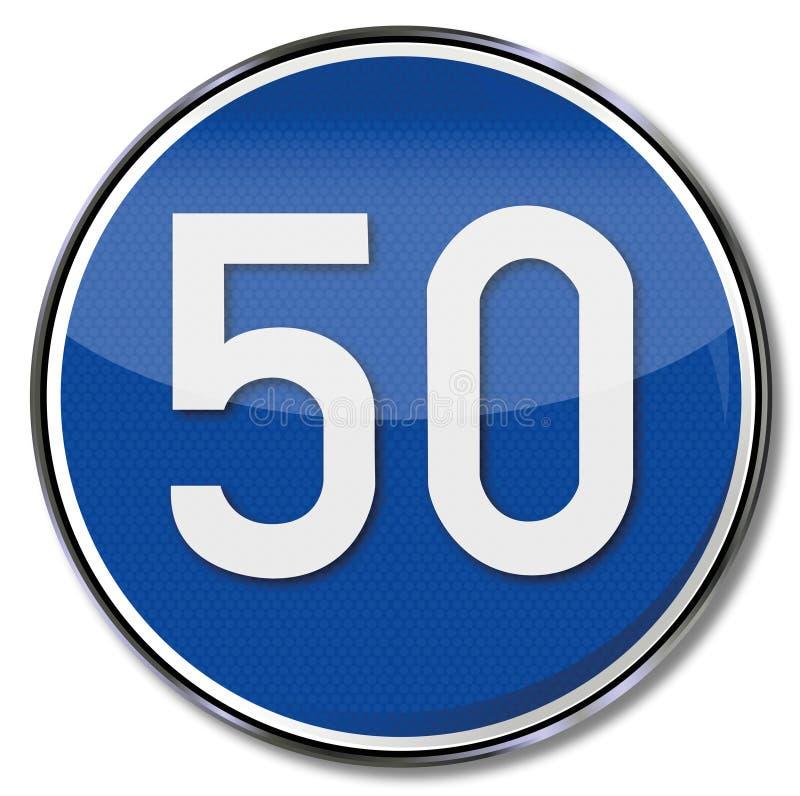 Kmh directionnel de la vitesse 50 de poteau de signalisation illustration stock
