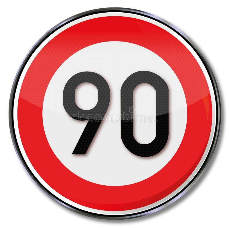 Kmh för hastighetsbegränsning 90 royaltyfri illustrationer