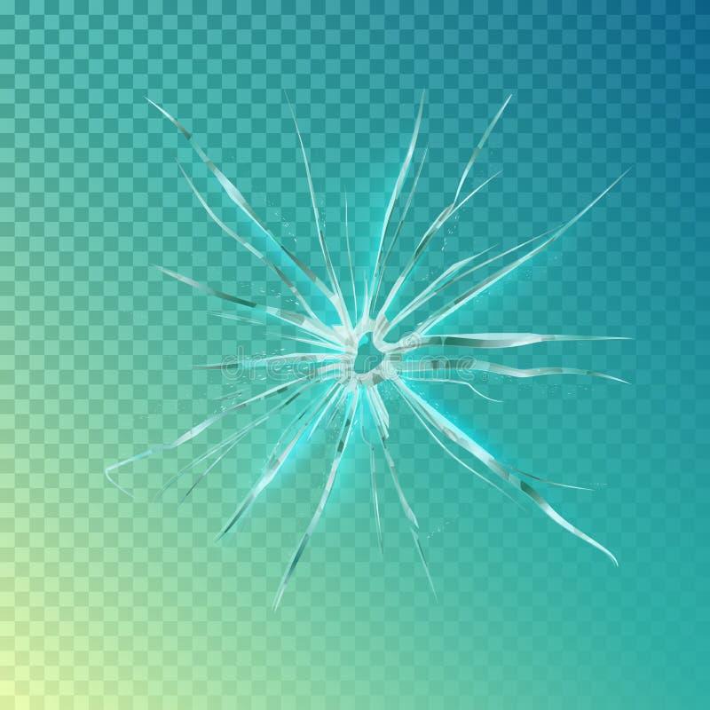 Knäcka på fönstret eller exponeringsglas, splittrad skärm vektor illustrationer