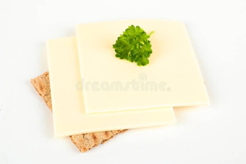 Knäckebröd med ost royaltyfria foton