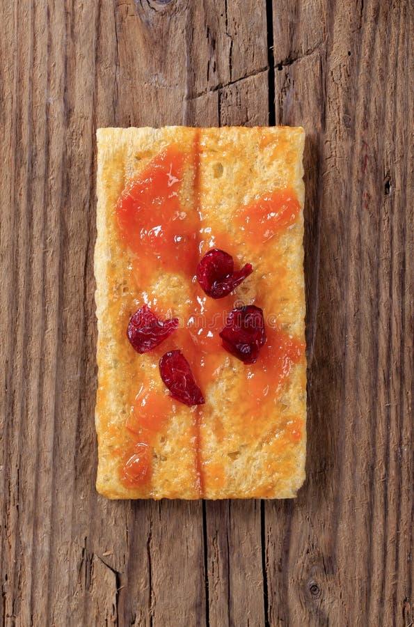 Knäckebrood en jam royalty-vrije stock foto