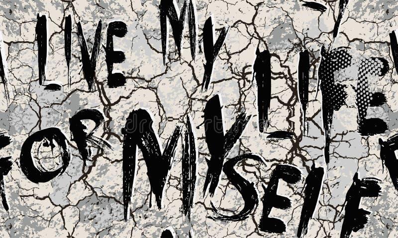 Knäckte den geometriska vektorn för Grunge den sömlösa modellen Abc-tapet Stads- sprickor smutsar ner bakgrund Texturerad moderik royaltyfri illustrationer