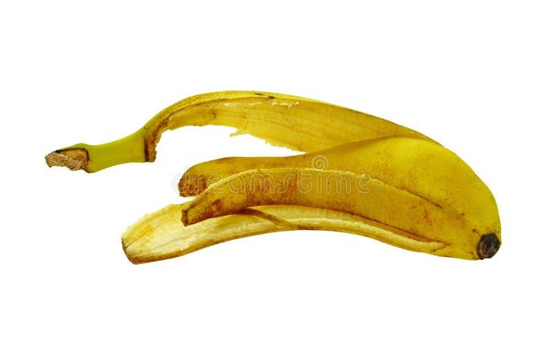 Knäpp hud som isoleras på vit bakgrund yellow för peel för bakgrundsbanan frukt isolerad vit royaltyfri bild