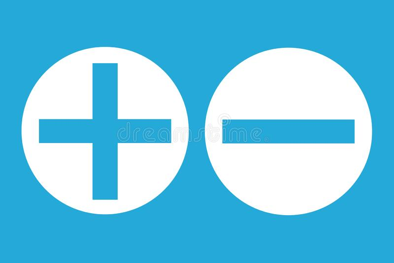 Knäppas det positiva negativa tecknet för för- och nackdelbedömninganalys på stor vit cirkel i blå tom bakgrund royaltyfri illustrationer