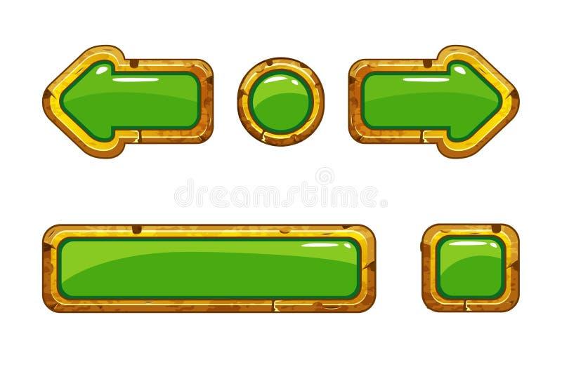 Knäppas guld- gammal gräsplan för tecknade filmen för lek eller rengöringsdukdesign royaltyfri illustrationer
