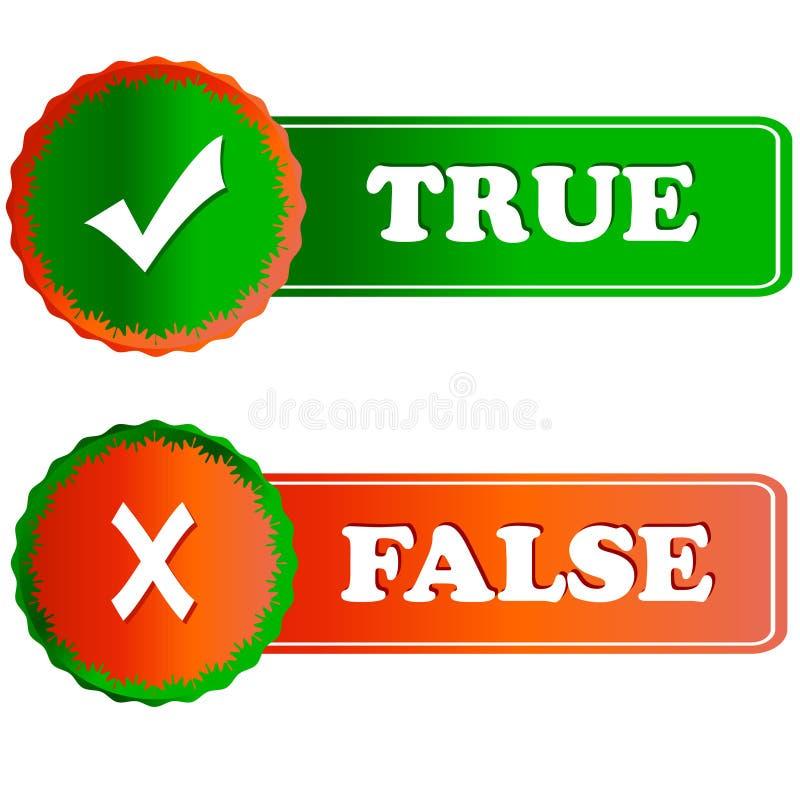 Knäppas riktigt och falskt royaltyfri illustrationer