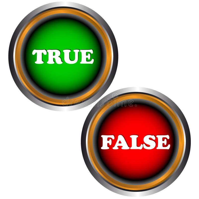Knäppas riktigt och falskt stock illustrationer