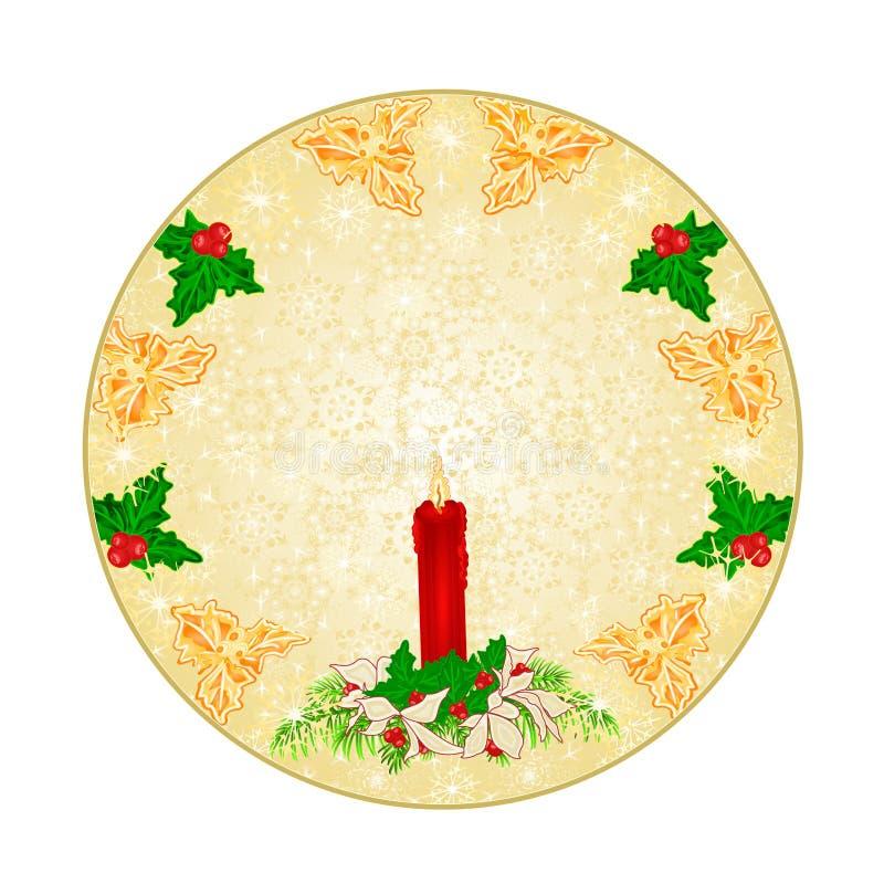 Knäppas snöflingor den redigerbara röda illustrationen för ljusstake- för cirkeljulgarnering och julstjärnatappningvektorn royaltyfri illustrationer