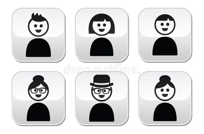 Knöpfe der Benutzer-, junger und alterleute eingestellt lizenzfreie abbildung