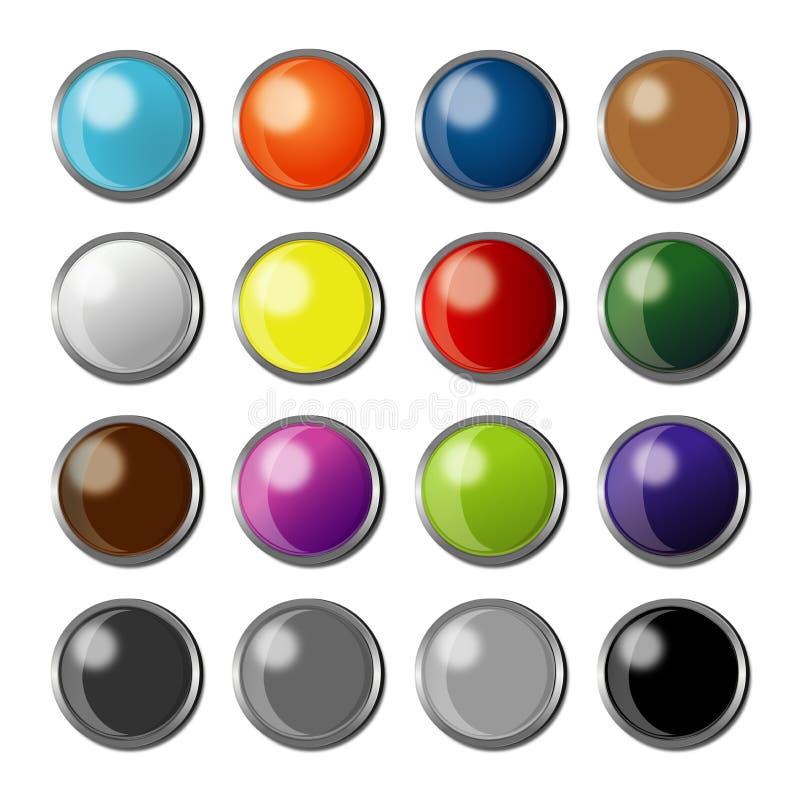 Knöpfe für Anwendungen, Software, Website mit farbenreichen Wahlen vektor abbildung
