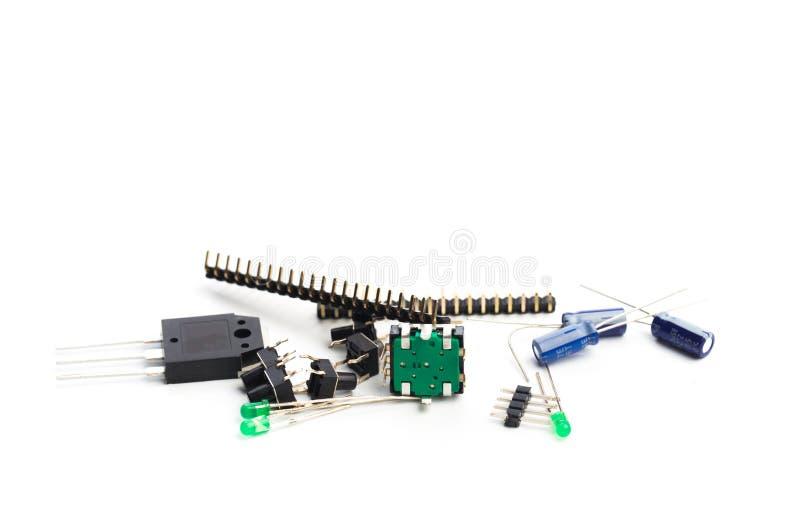 Knöpfe, geführt, Kodierer und Verbindungsstücke lokalisiert auf Weiß stockfotografie