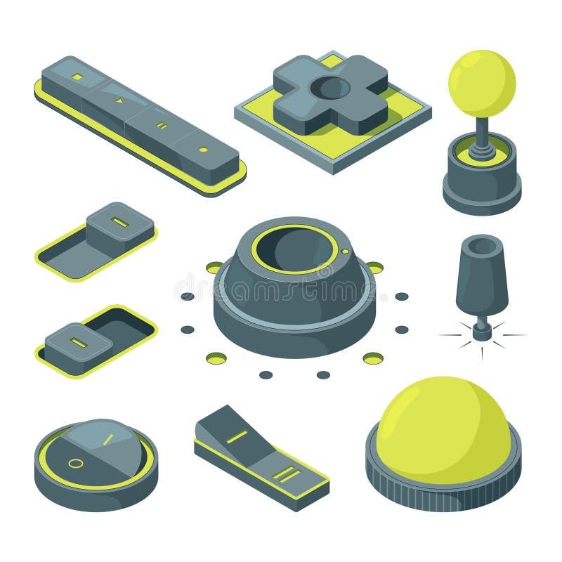 Knöpfe UI 3D Isometrische Bilder von verschiedenen Knöpfen lizenzfreie abbildung