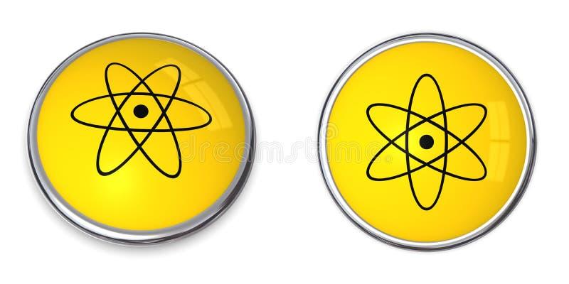 Knöpfen Sie Atom-/Kernsymbol lizenzfreie abbildung