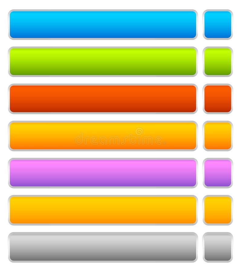 Knöpfen Sie, Fahnenhintergrund in 7 horizontalen Farben -, langer Knopf vektor abbildung