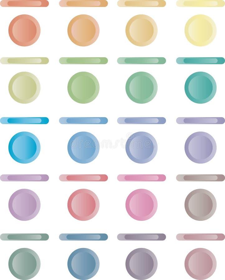 Knöpfen Sie, Set helle Tasten von Rotem, blau, Grün. stock abbildung