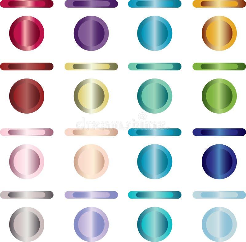 Knöpfen Sie, Set Tasten, die Metall und Leuchte sind lizenzfreie abbildung