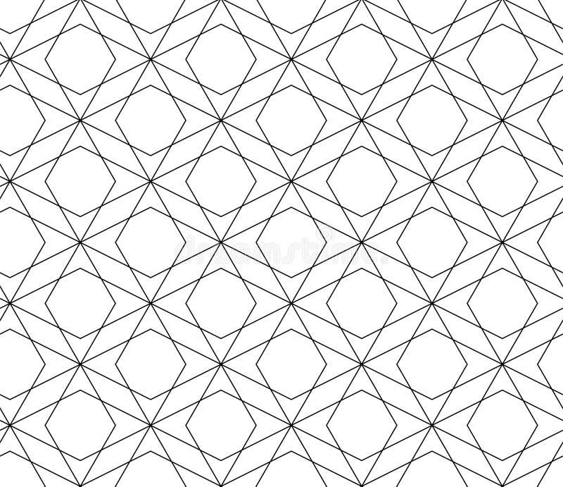 KNACKANDE LÄTT PÅ LINJÄR SÖMLÖS VEKTORMODELL MODERN STILFULL MONOKROM INGREPPSTEXTUR MODERIKTIG KORSNING GEOMETRISK DESIGN royaltyfri illustrationer