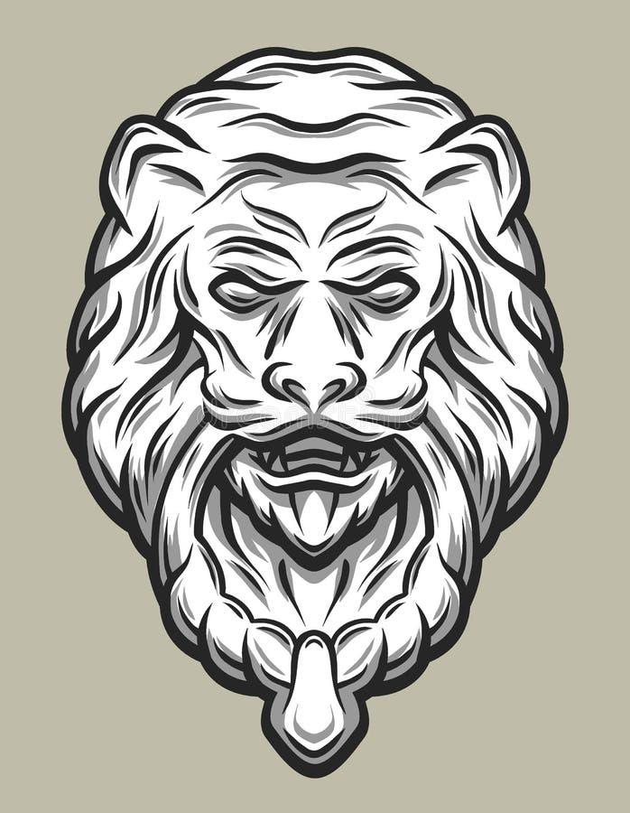 Knackare för Llion huvuddörr Linje konststil vektor illustrationer