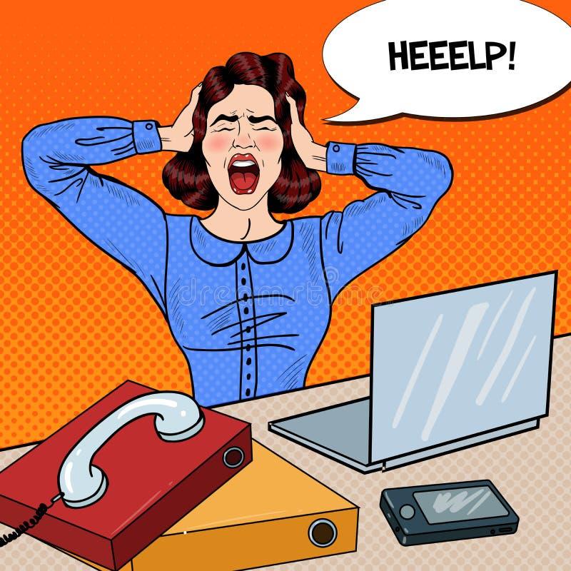 Knall Art Angry Frustrated Woman Screaming bei der Büro-Arbeit stock abbildung