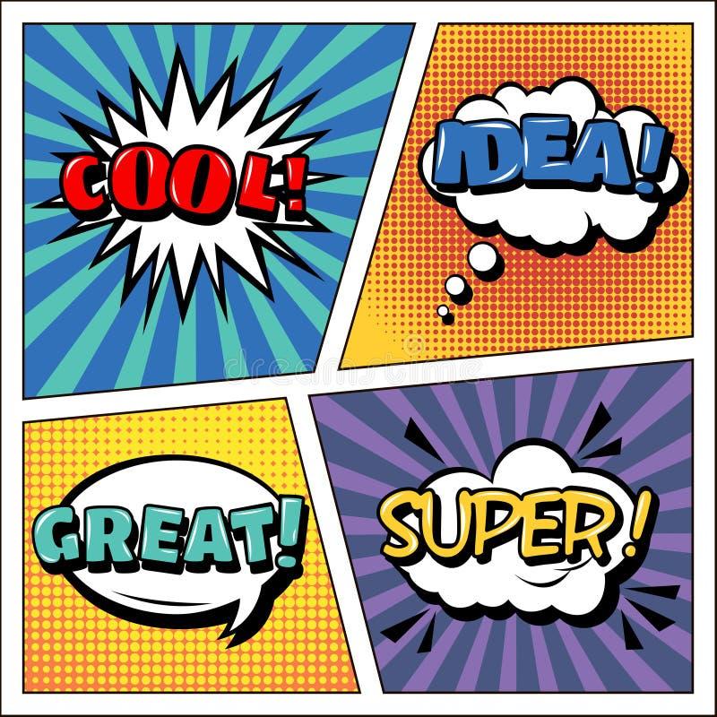 Knall Art Banner Comicsart Ausdrücke eingestellt Luftblasen eingestellt vektor abbildung