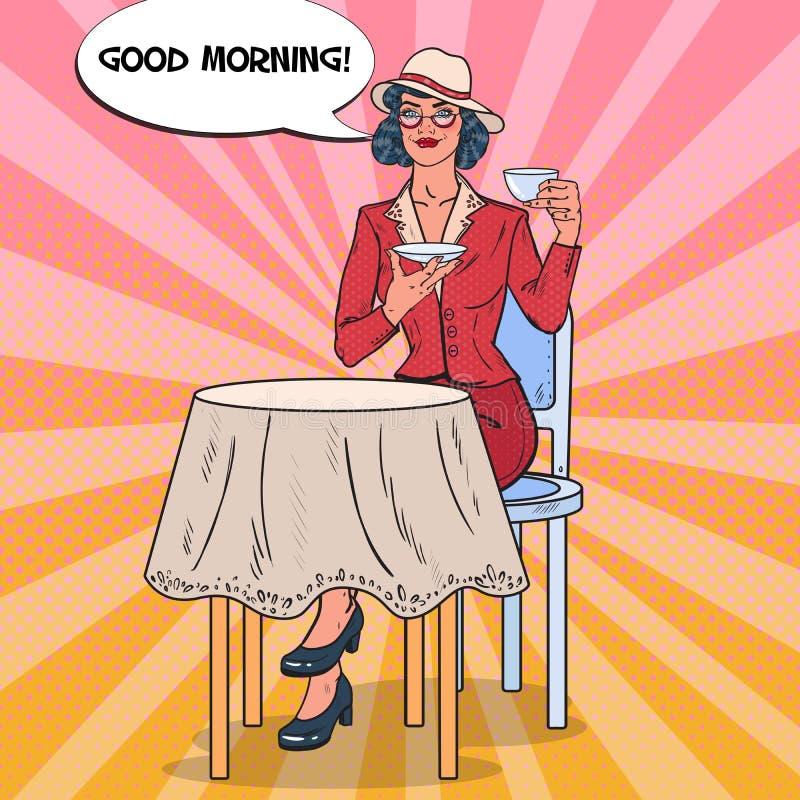 Knall-Art Beautiful Woman Drinking Morning-Tee im Café Süßes Hörnchen und ein Tasse Kaffee im Hintergrund vektor abbildung