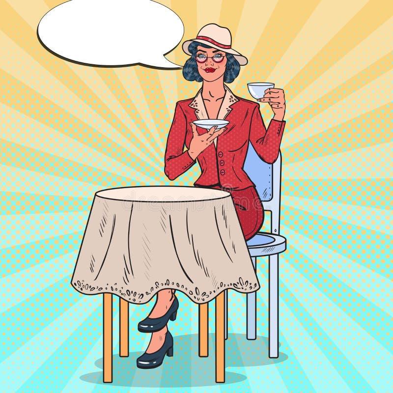 Knall Art Beautiful Woman Drinking Tea im Café Süßes Hörnchen und ein Tasse Kaffee im Hintergrund vektor abbildung