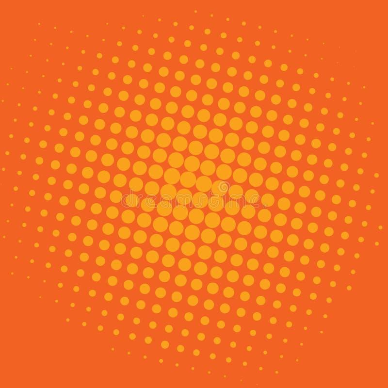 Knall-Art Bittersweet Orange Dots Comic-Hintergrund-Vektor-Schablonen-Design stock abbildung