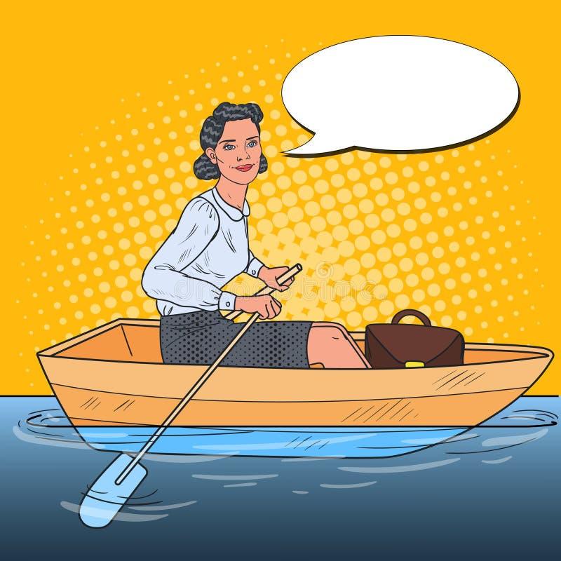 Knall Art Business Woman auf Boot Vergrößerungsglas, das auf ein Diagramm sich konzentriert lizenzfreie abbildung