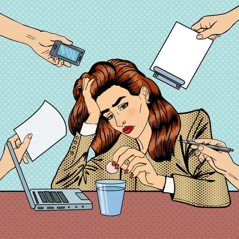 Knall Art Business Woman Drinking Pills im Büro lizenzfreie abbildung