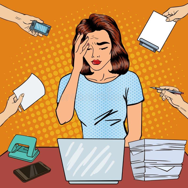 Knall Art Business Woman hat Kopfschmerzen im Büro Arbeit mehrere Dinge gleichzeitig tuend stock abbildung