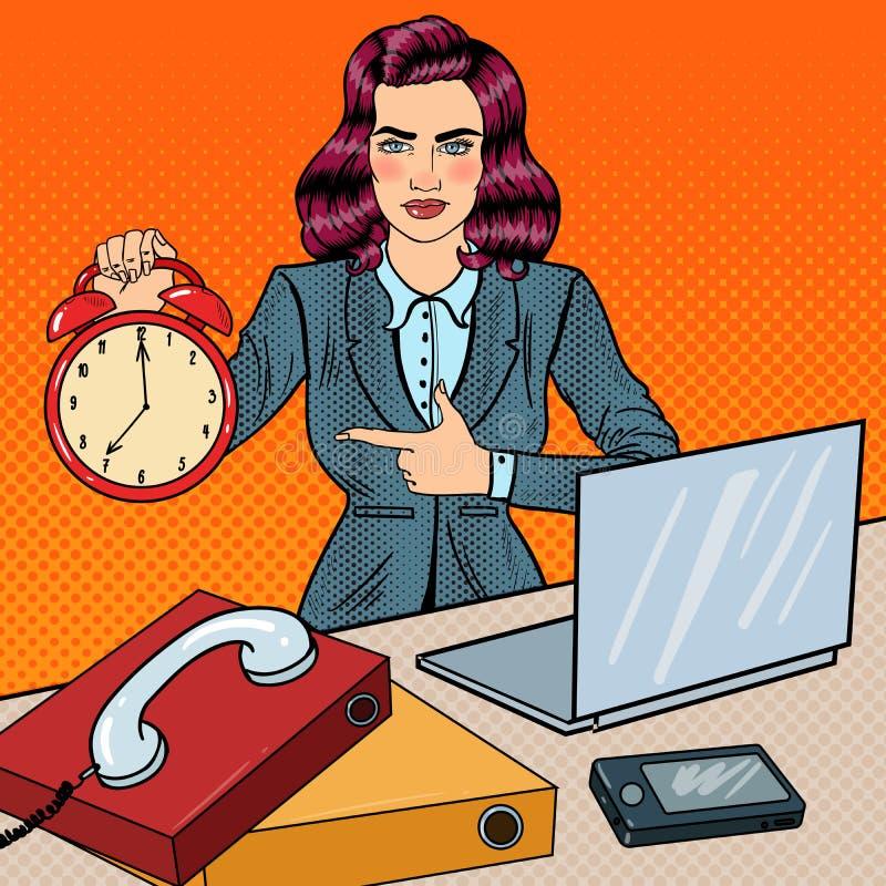 Knall-Art Business Woman Holding Alarm-Uhr bei der Büro-Arbeit mit Laptop lizenzfreie abbildung