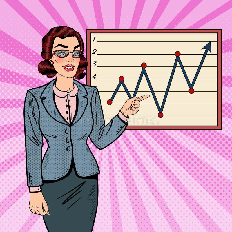 Knall Art Business Woman Showing auf Wachstums-Diagramm 3d übertragen lizenzfreie abbildung