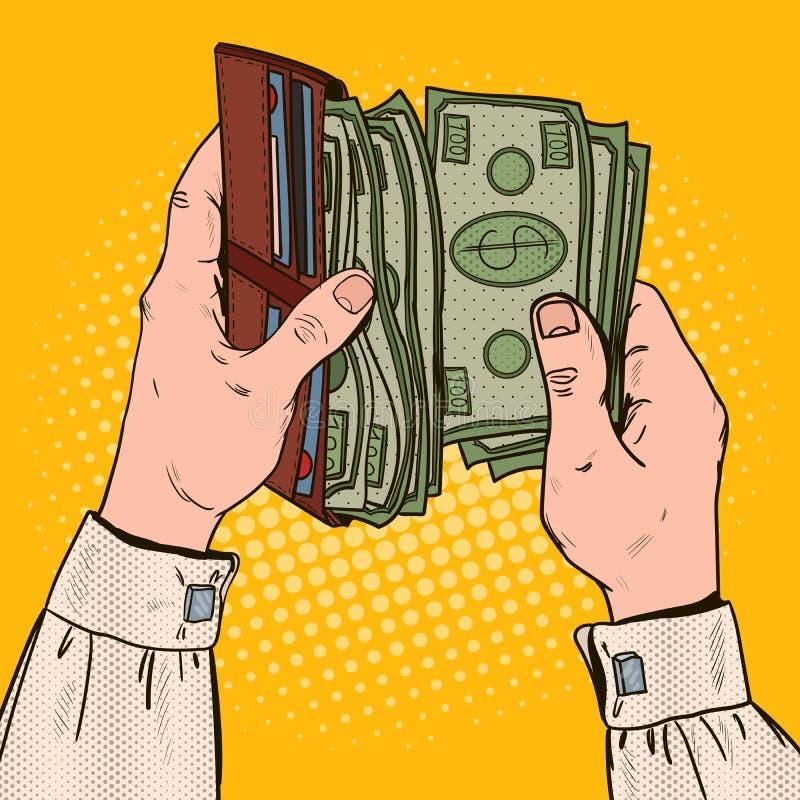 Knall Art Businessman Hands Holding Wallet mit Geld lizenzfreie abbildung