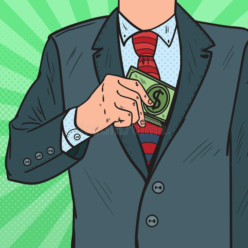 Knall Art Businessman Putting Money in der Anzugs-Jacken-Tasche Korruptions- und Bestechungskonzept lizenzfreie abbildung