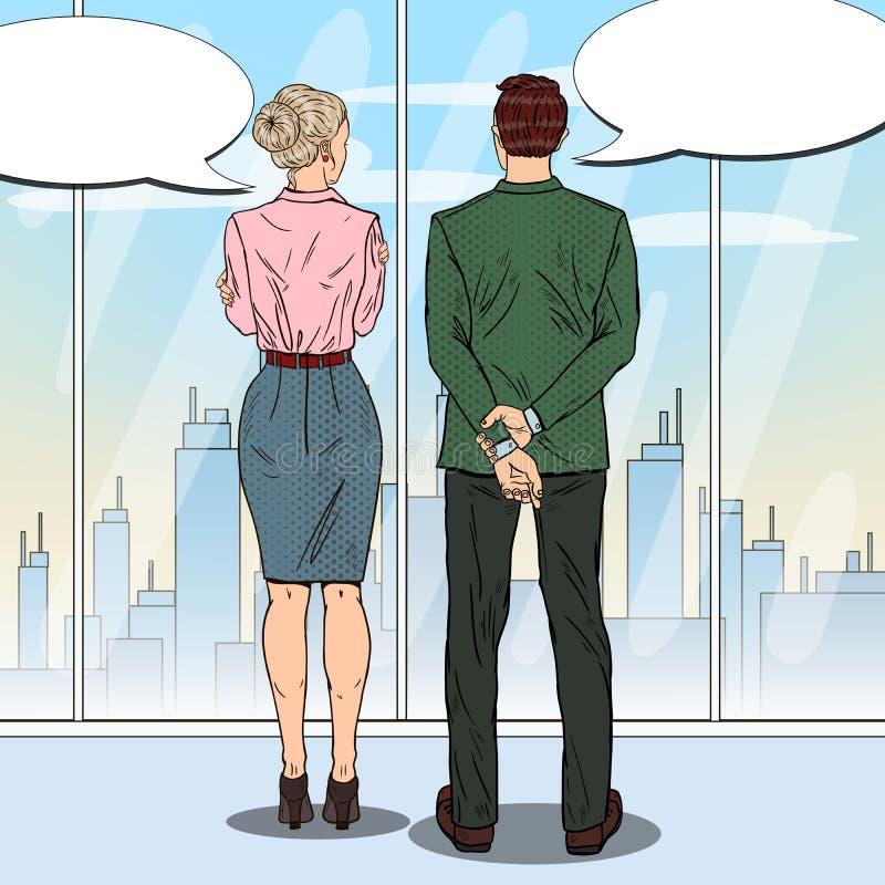 Knall Art Businessman Talking mit Geschäftsfrau