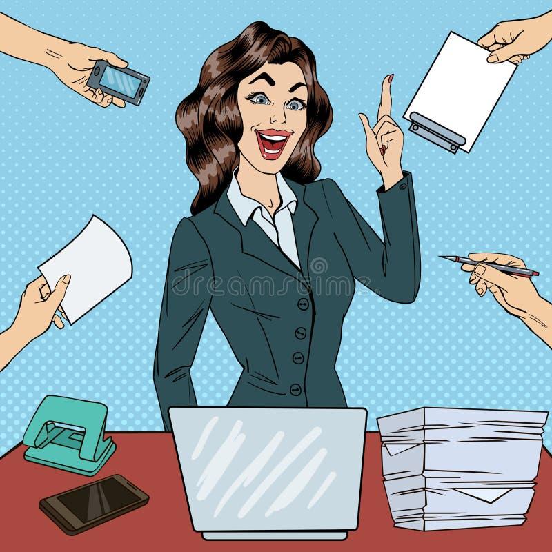 Knall Art Busy Business Woman Had eine Idee am Mehrere Dinge gleichzeitig tun der Büro-Arbeit lizenzfreie abbildung