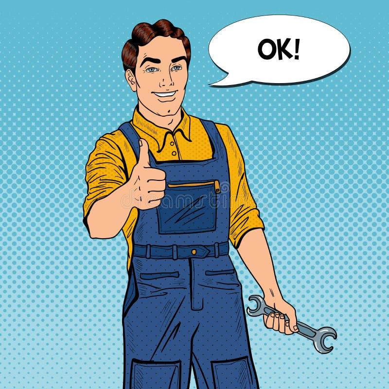 Knall Art Confident Smiling Mechanic mit den Schlüssel-Daumen oben stock abbildung