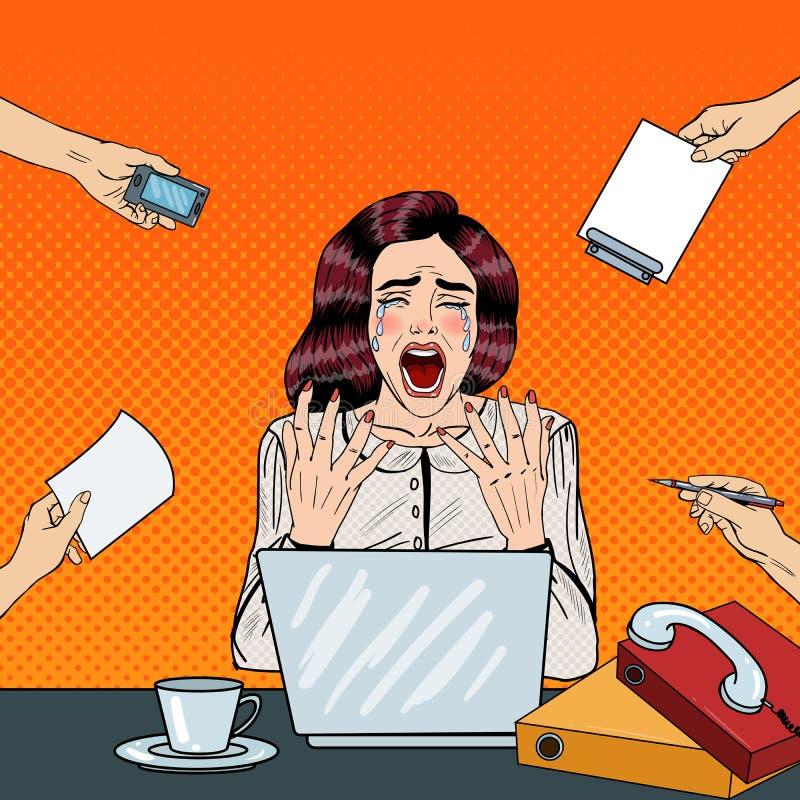 Knall Art Crying Stressed Business Woman, der am Mehrere Dinge gleichzeitig tun der Büro-Arbeit schreit stock abbildung