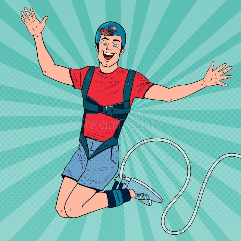 Knall Art Excited Man Jumping Bungee Extremer Sport Glücklicher Guy Ropejumping vektor abbildung